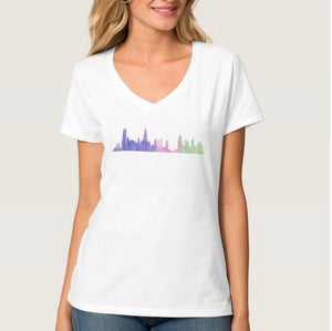 Chicago Skyline V Neck Shirt - One Strange Bird