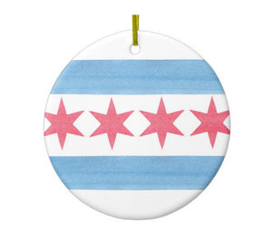 Chicago Flag Ornament - One Strange Bird