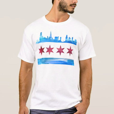 Chicago Flag Sykline Shirt Unisex - One Strange Bird