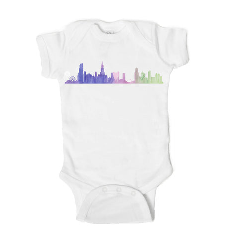 Chicago Skyline Baby Bodysuit - One Strange Bird
