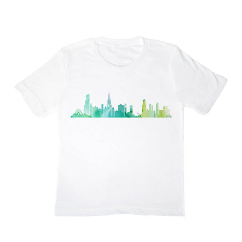 Chicago Skyline Kids Shirt Green - One Strange Bird