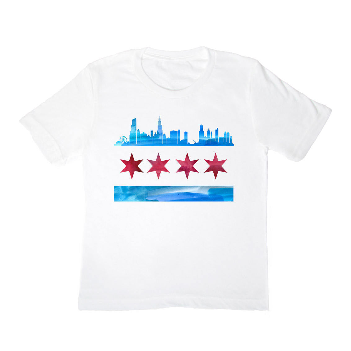 Chicago Skyline Flag Kids Shirt - One Strange Bird