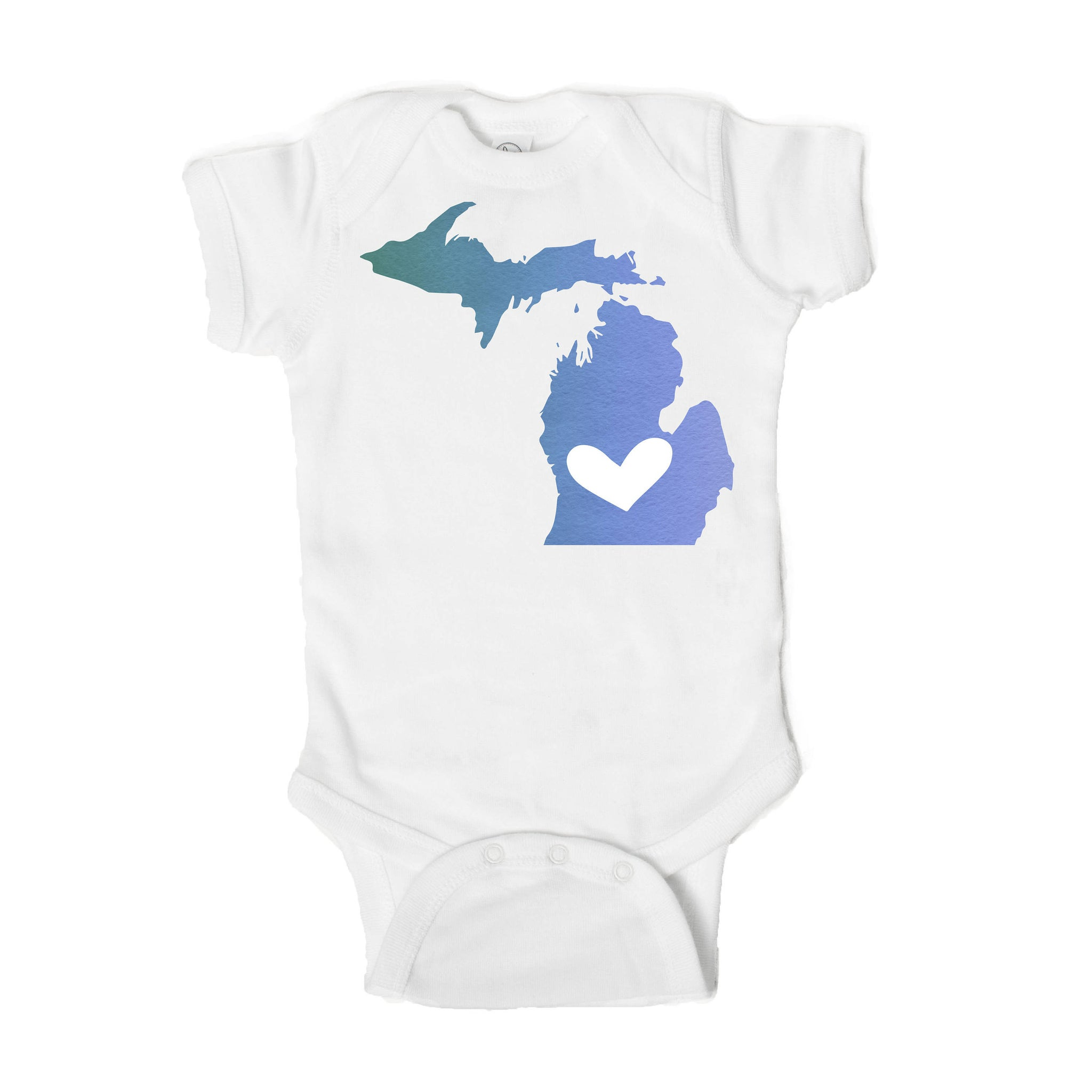 State Love Michigan Mitten Heart Baby Onesie