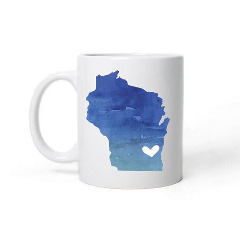 Wisconsin  Love Heart State Map Mug