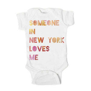 Someone in New York Loves Me  Baby Onesie - One Strange Bird