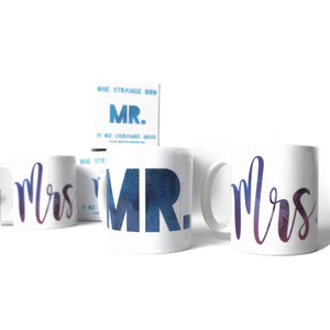 Mr. and Mrs. Wedding Mug Set - One Strange Bird