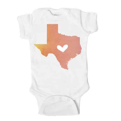Texas Love State Art  Baby Onesie