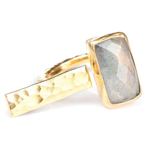 Rectangle and gold bar ring