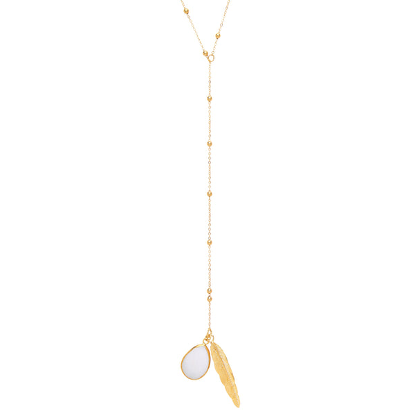 Feather and Stone Lariat Necklace