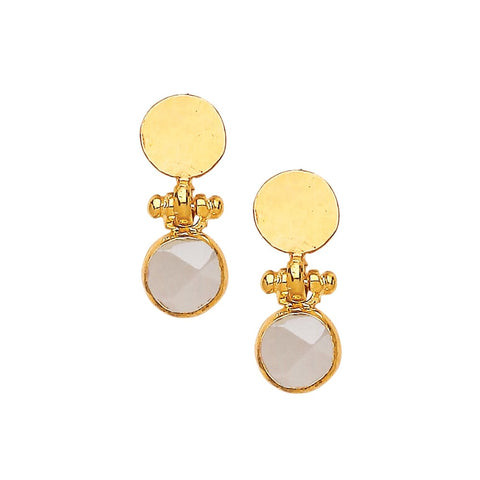 Miniature Circle Single Chalcedony Hammered Earrings