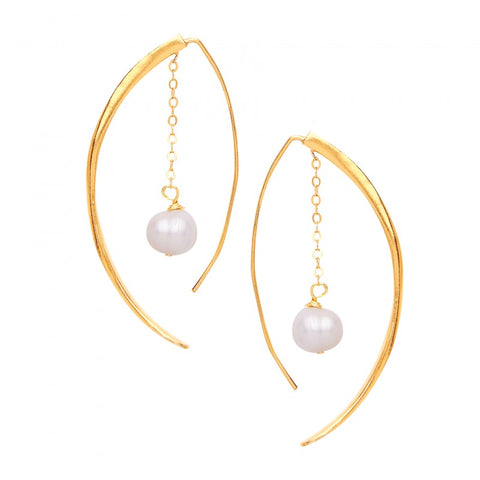Chain and Pearl Hang-through Earring