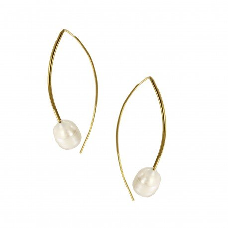 Single Pearl Hang-through Earring