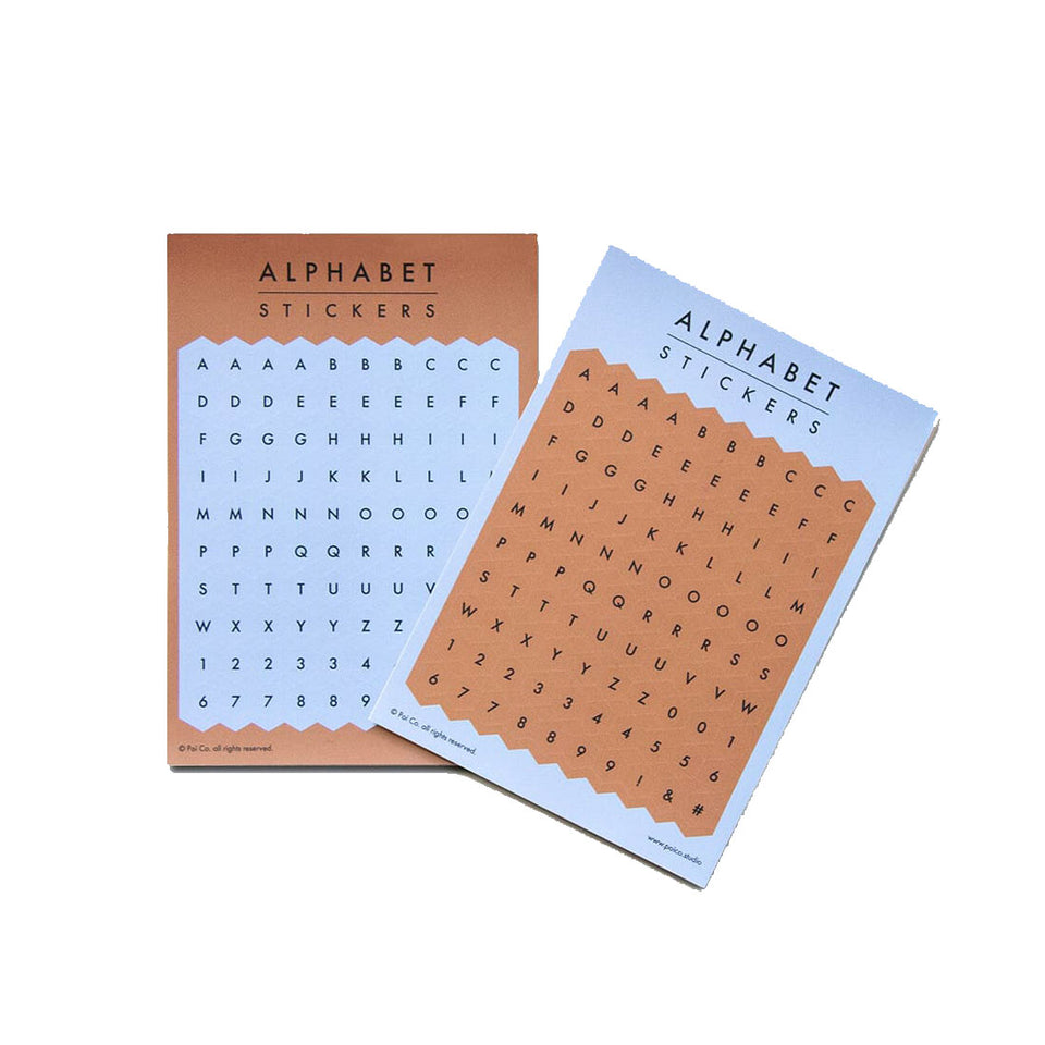 HEXAGON ALPHABET STICKER - BLUE / BROWN