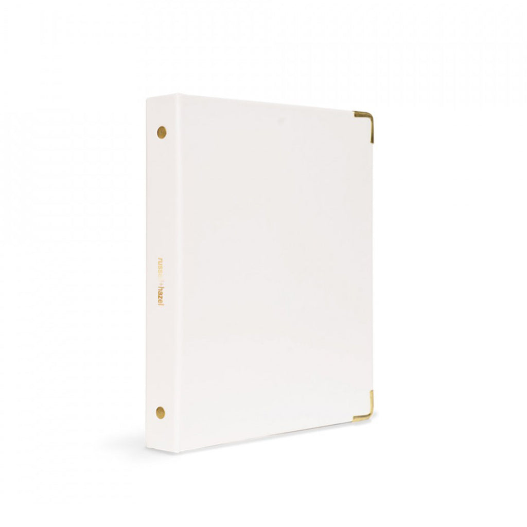 WHITE PATENT MINI BINDER