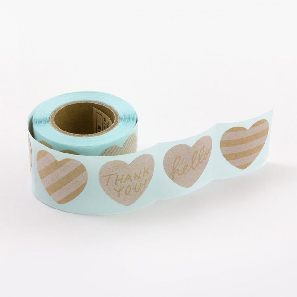 STICKER ROLL - HEART PATTERN MESSAGE