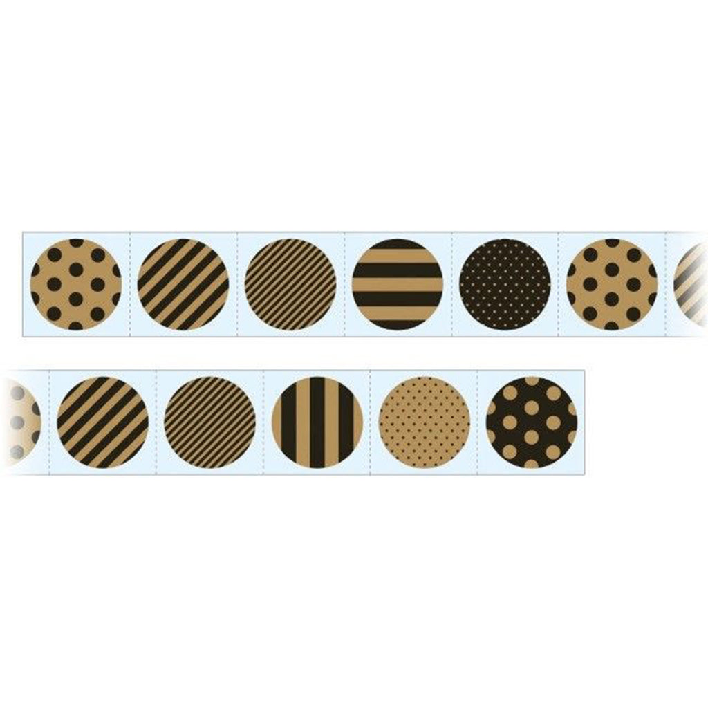 STICKER ROLL - KRAFT BLACK CIRCLES