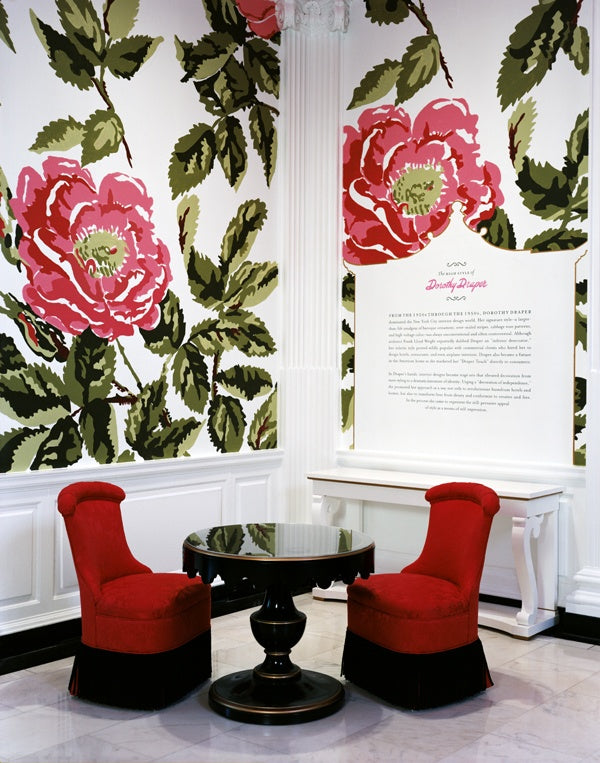 "The High Style of Dorothy Draper exhibition. Museum of the City of New York rotunda shown. Rose pattern painted by muralist based on Draper's ""Manor Rose"" fabric and wallpaper. Draper's ""Manor Rose"" featured 4 inch wide roses. We increased the scale of the roses to approx. 36 inches wide. Reproduction furniture was displayed only in the rotunda."