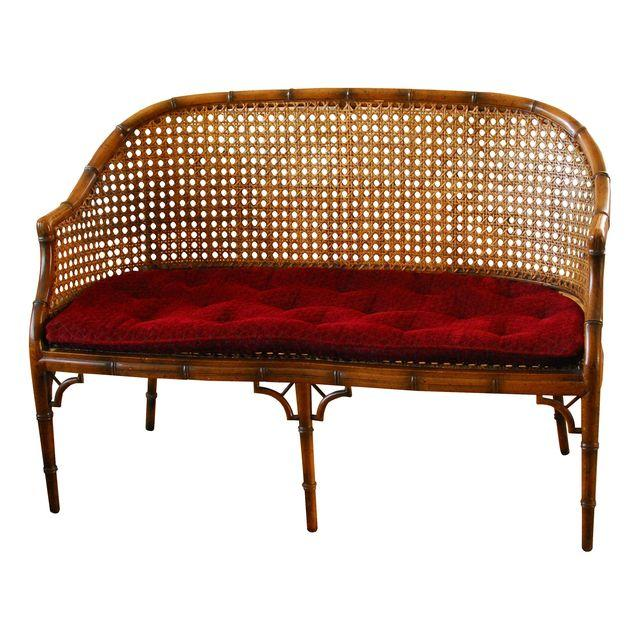 Hollywood Regency Faux Bamboo & Cane Settee_Erin Lane Estate