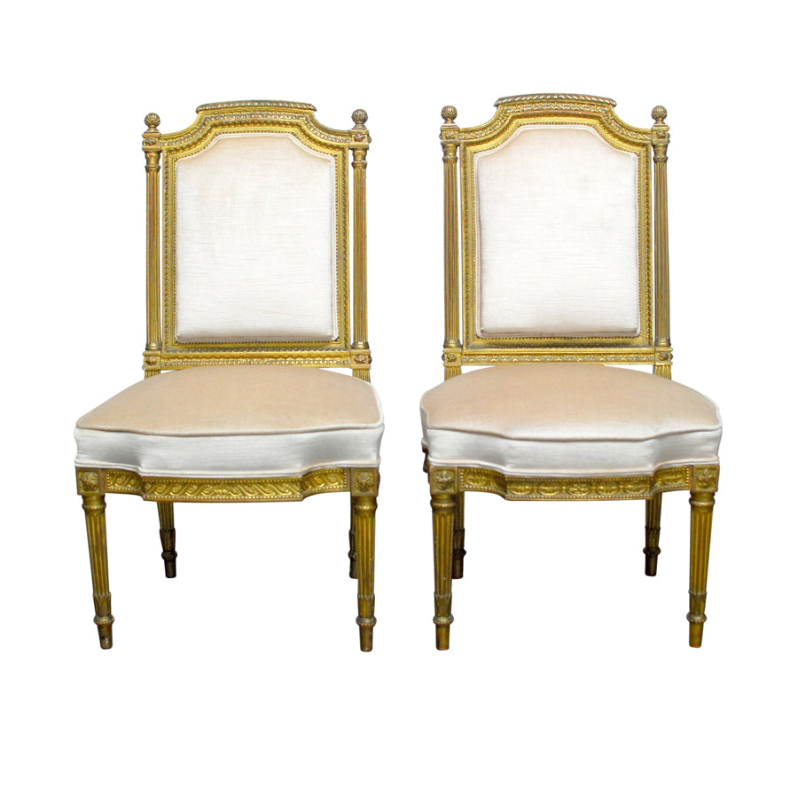 Louis XVI Gilt Wood Hall Chairs
