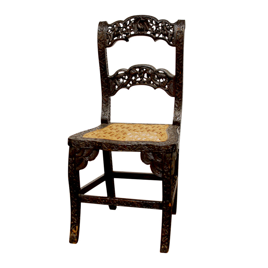 Anglo Indian Carved Rosewood Chair