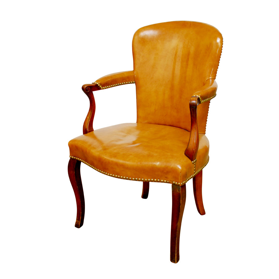 19th Century George III Leather Library Chair