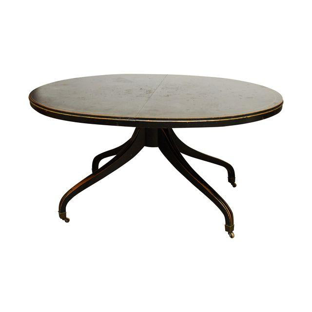 Drexel French Black Lacquer Dining Table