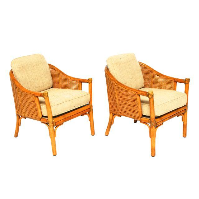 Pair of McGuire Cane Barrel Chairs_Erin Lane Estate