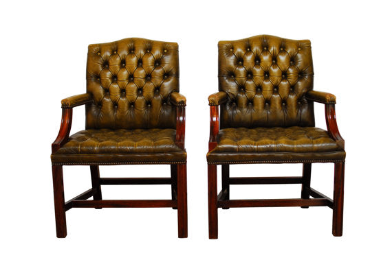 Edwardian Tufted Library Chairs