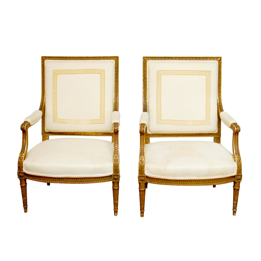 19th Century French Louis XVI Fauteuil Armchairs