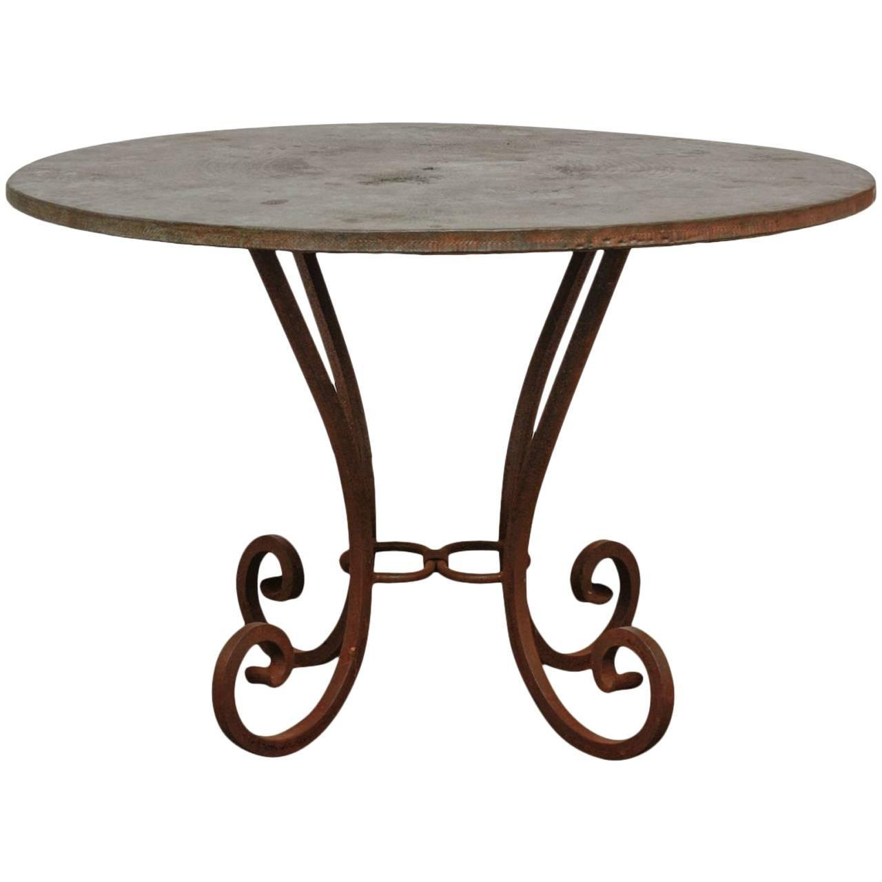 Wrought Iron Round Table.Wrought Iron And Copper Round Dining Table Erin Lane Estate