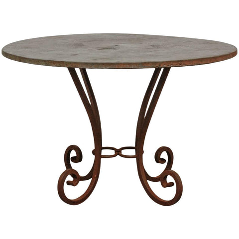 Wrought Iron and Copper Round Dining Table