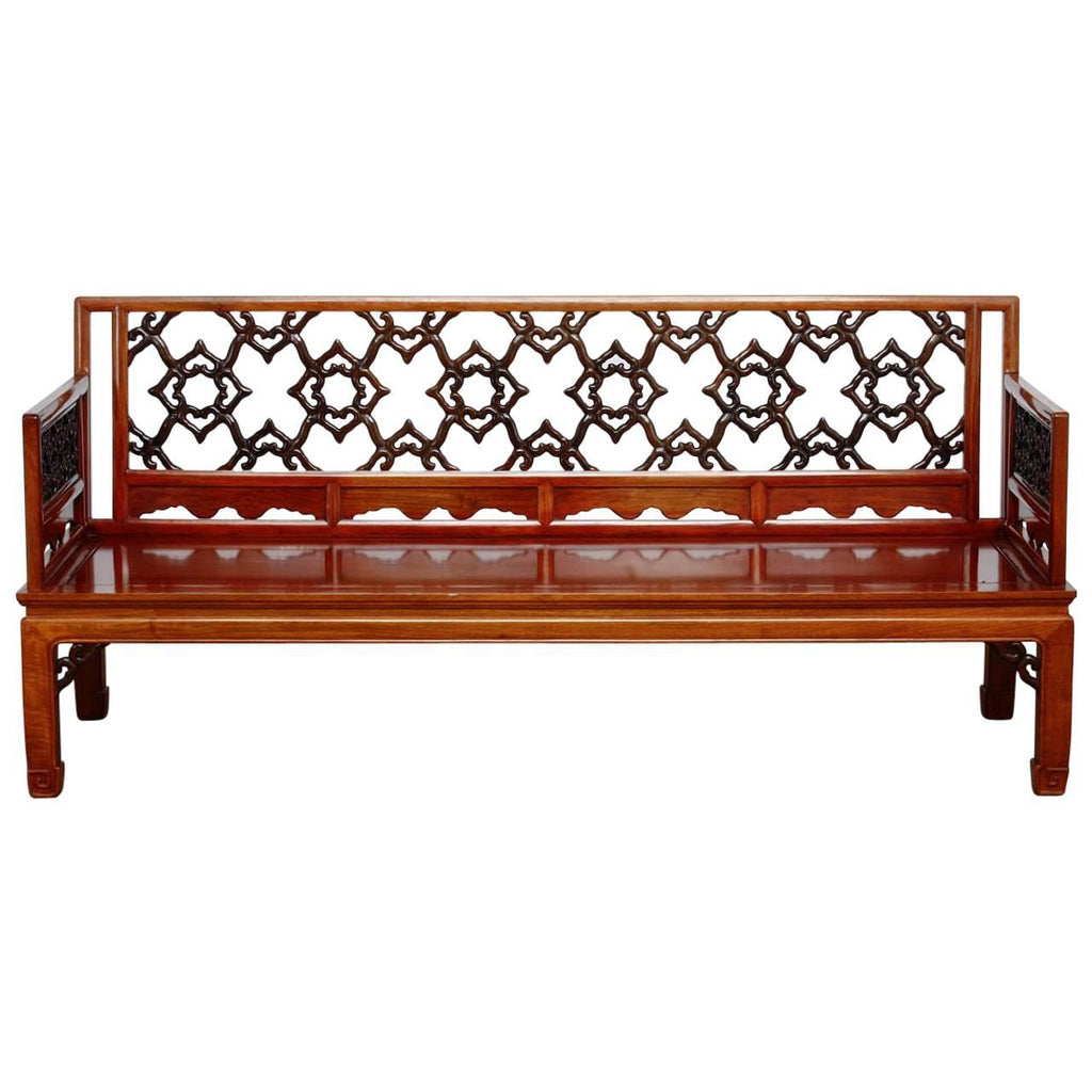 Chinese Carved Rosewood Daybed or Bench
