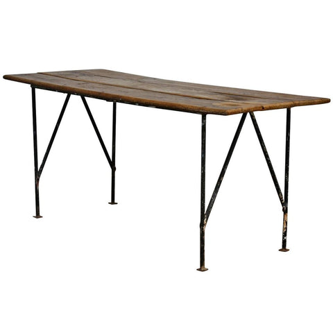 Country French Farmhouse Dining Table with Metal Base