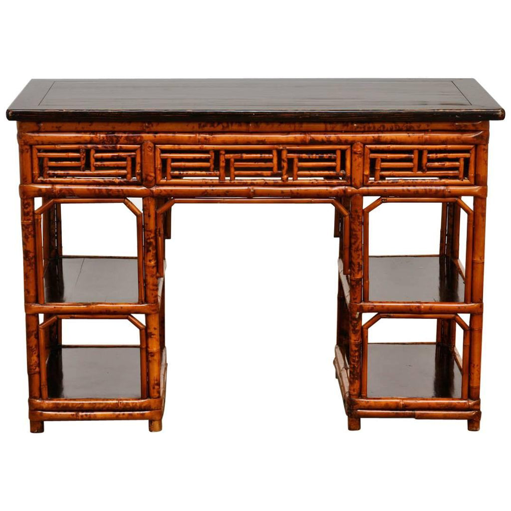 English Chinese Chippendale Chinoiserie Style Bamboo Desk