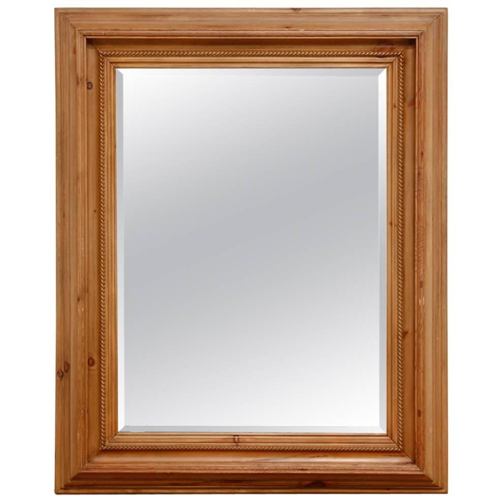 French Pine Rope Twist Beveled Mirror