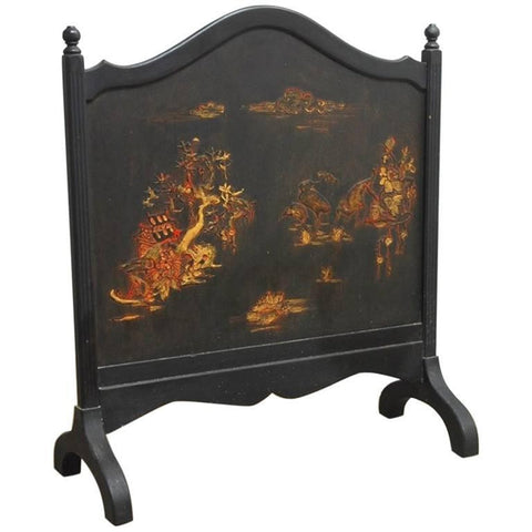 Black Lacquer Chinoiserie Decorated Fireplace Screen