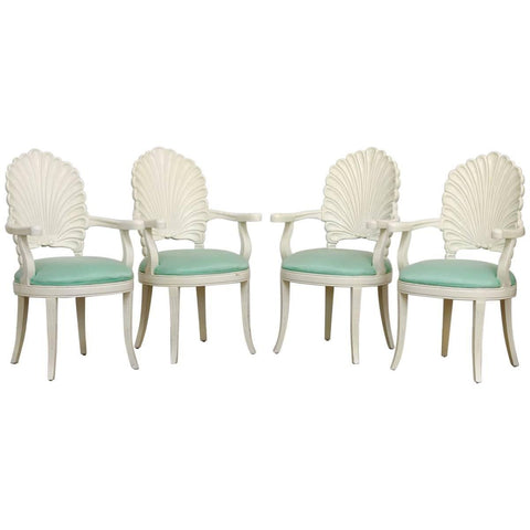 Set of Four Lacquered Venetian Grotto Shell Back Armchairs