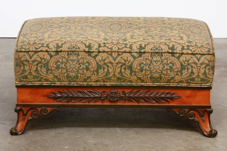 Pair Of Italian Carved And Upholstered Ottoman Benches Erin Lane