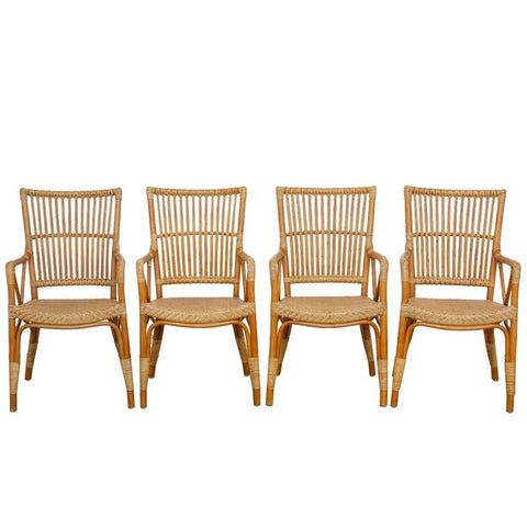 Danish Modern Bamboo Dining Chairs