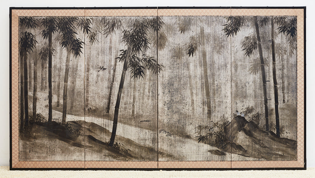 Japanese Meiji Sumi-e Silver Leaf Painted Screen