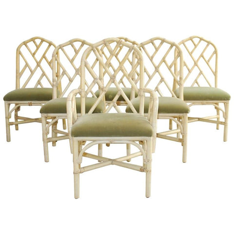 Set of Six Bamboo Rattan Dining Chairs by Brown Jordan