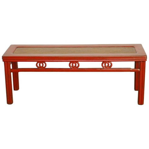 Chinese Red Lacquer and Raffia Carved Bench Seat