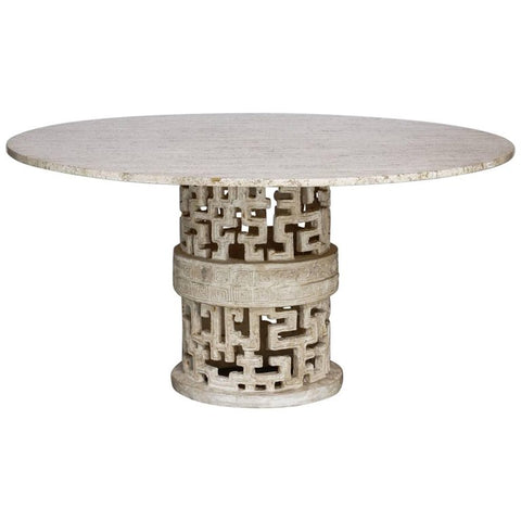Hollywood Regency Travertine and Molded Stone Dining Table