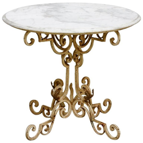 French Wrought Iron and Marble Bistro Table