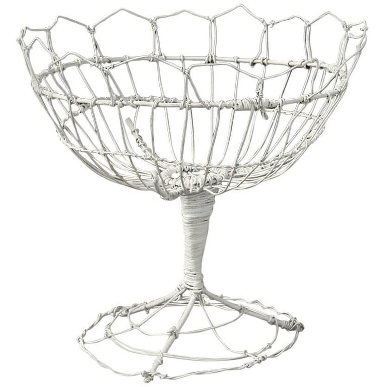 White French Wirework Basket Sculpture