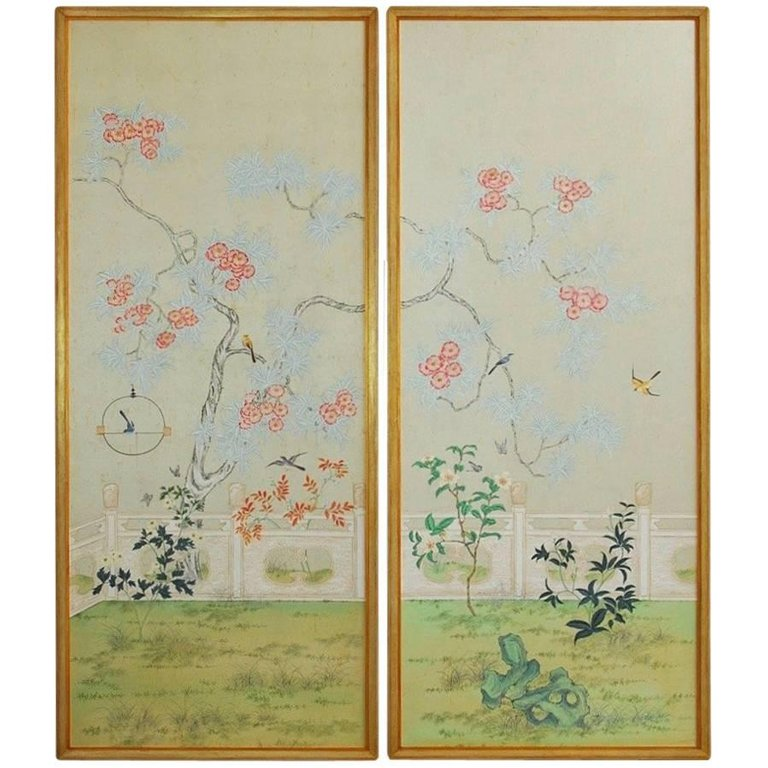 Chinoiserie Flora and Fauna Painted Panels by Robert Crowder