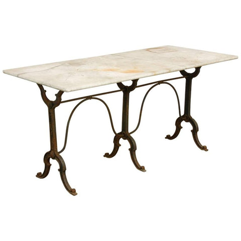 19th Century French Marble-Top Pastry Table or Console Table