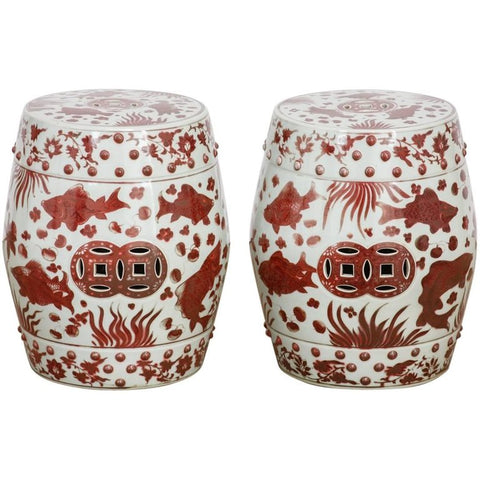 Chinese Ceramic Aquatic Life Garden Stools or Drink Tables