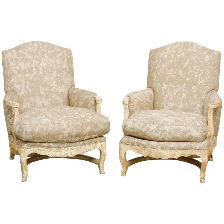 Pair of Country French Bergere Armchairs with Ottoman