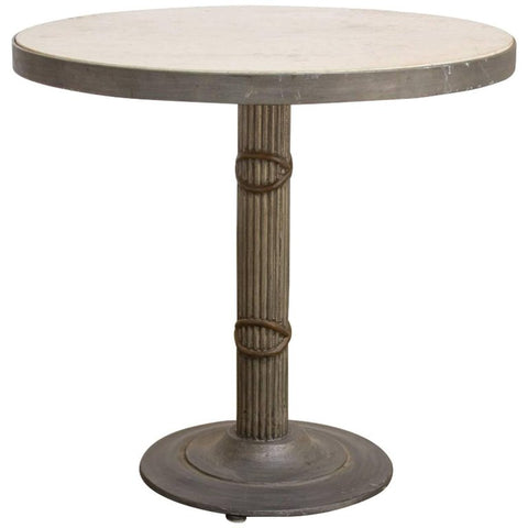 Iron and Travertine Limestone Centre or Pub Table
